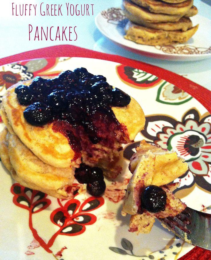 Fluffy Greek Yogurt Pancakes with Berry Syrup - Hummusapien | Hummusapien