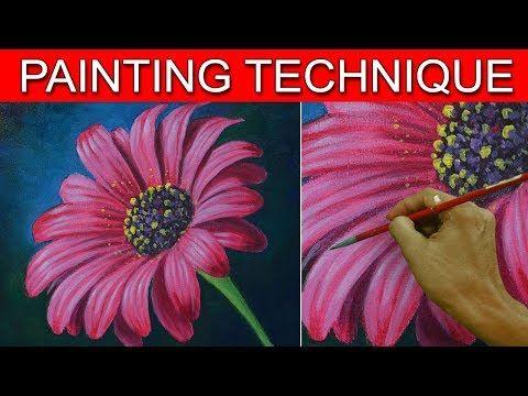 ONE STROKE FLOWER ON PAPER - Luz Angela´s Technique - YouTube