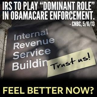 Anyone who thinks the IRS playing ANY role in Obamacare has not been paying attention.