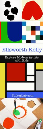 Series on Exploring modern artists with kids and a simple printing project: Ellsworth Kelly