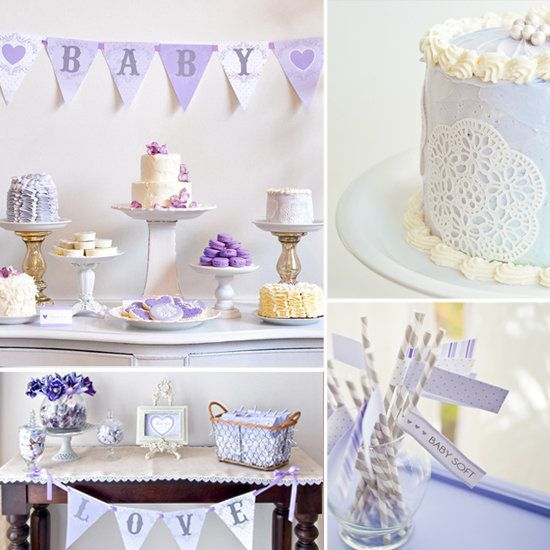 even though this is for a baby shower, I love the lavender color theme and all the cute little edibles! good idea!