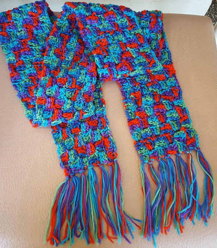 Rainbow Coloured Long Crochet Scarf Using Corner to Corner Stitch Pattern by KalaaStudio on Etsy