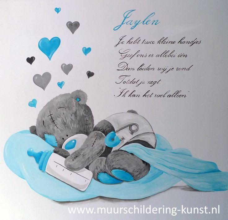 muurschildering gedichtje babykamer