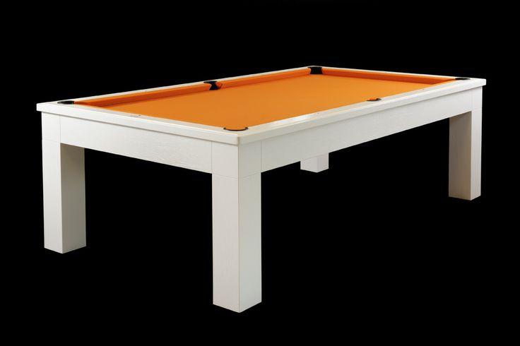 Tavolo da biliardo KUBIK : il design al servizio della scorrevolezza di gioco. Trasformabile in tavolo da pranzo con le apposite coperture.