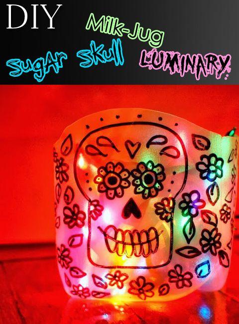 DIY Sugar Skull Milk Jug Luminary – Top Easy Decor Design ...