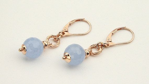 Sky Blue Agate, Rose Gold Plated 24K, Sterling Silver Italian Jewelry, Spring Gift, Anniversary Gift, Blue Earrings, Gift for Her, 8029