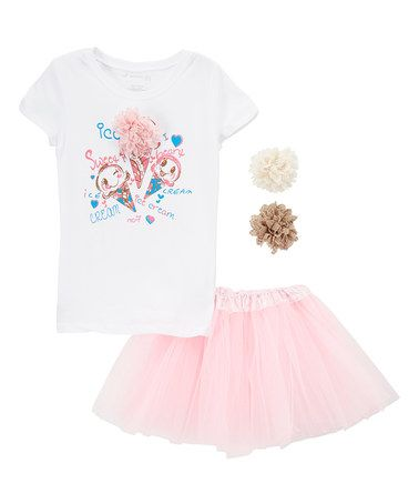 Another great find on #zulily! White & Pink Ice Cream Tee & Tutu Set…