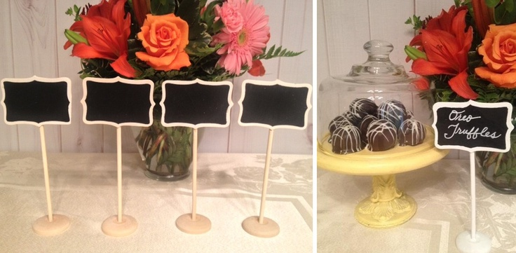 "Set of 4 ""Naked"" Mini Chalkboard Stands - Candy Bar!"