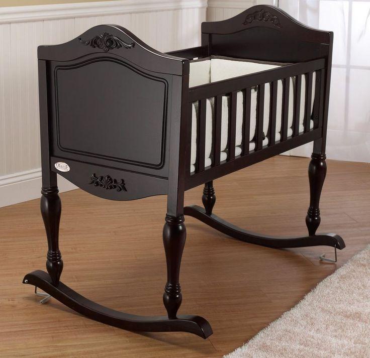 Baby Rocking Cradle Crib Antique Style Bassinet Newborn Infant Nursery Furniture #Orbelle