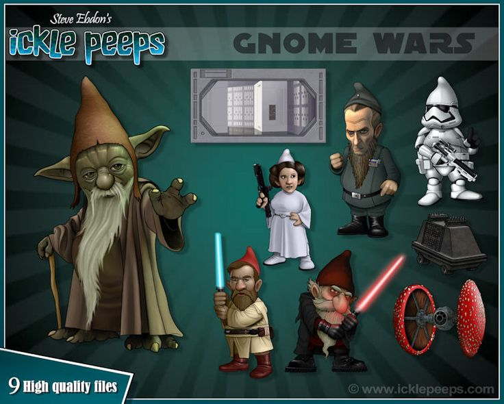 A set of 6 Star Wars themed Gnomes, 2 props and 1 additional scenery in PNG format