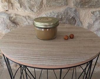 """Bougie décorative - senteur """"caramel"""" - cire de Soja - meche de bois - decoration tendance automne-hiver"""