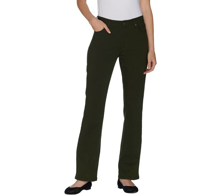 Susan Graver Petite Stretch Twill Fly Front Mini Boot Cut Jeans - Page 1 — QVC.com