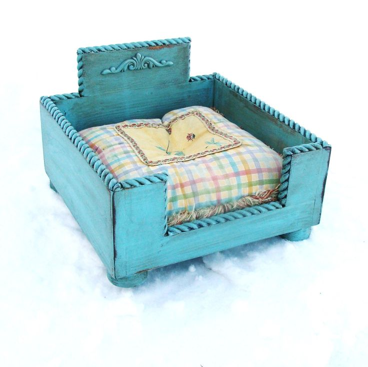 Pet Bed, Cat Bed, Pet Furniture, Small Dog Bed, Dog Bed, Distressed Cottage Beach Robin Egg Blue Custom by baconsquarefarm on Etsy https://www.etsy.com/listing/181625635/pet-bed-cat-bed-pet-furniture-small-dog