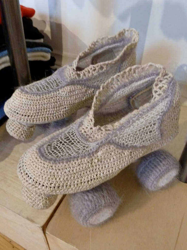 Cute knitted roller skates on display at Gudrun and Gudrun!