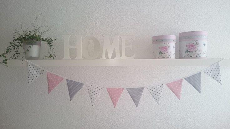 Wimpelkette Sterne weiß-rosa-grau Baby/Kind Wimpelgirlande Wimpel Girlande Deko Babyzimmer Kinderzimmer – Wimpelketten