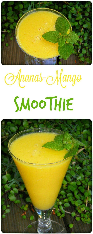 Mango – Ananas Smoothie mit Kokoswasser und Ingwer: Der Smoothie war nicht zu süß (trotz vollreifer Banane und  sehr reifer Mango), leicht scharf durch den Ingwer, lecker exotisch durch Kokosöl und Kokoswasser und sehr erfrischend durch Zitrone und Limette. Auch wenn dieser Smoothie, durch den enthaltenen Fruchtzucker, nicht ganz so gesund ist wie meine Grünen Smoothies, gönne ich mir so etwas doch öfter. Bei mir vertreiben solle Flüssig-Vitamin-Bomben gänzlich den Hunger.