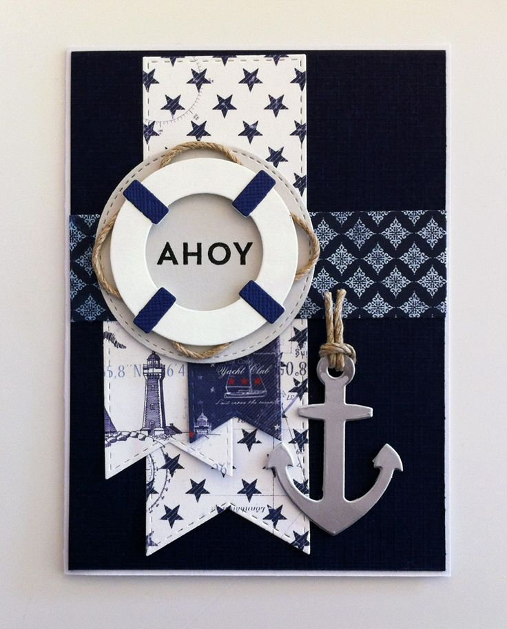 Card nautical sailing anchor lifesaver sea ocean banners MFT Let+s get nautical Die-namics, MFT Go overboard stamp set Die-namics #mftstamps -  maritimt nautisk kort med anker og redningskrans - Maja Design Life by the Sea paper collection  #majadesign - My Favorite Things  MFT stitched banners Die-namics - JKE
