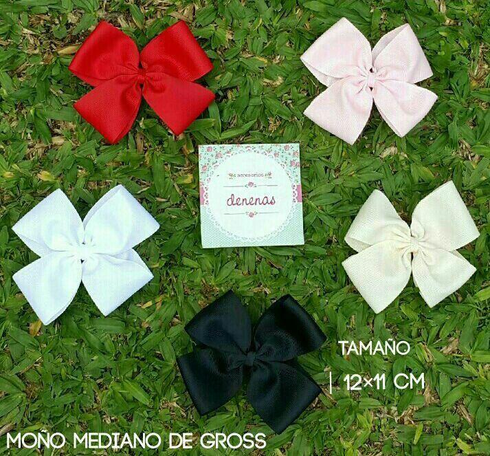 Moño mediano gross. Rojo - blanco - negro - beige - rosa claro - Moños para niñas - Bows for girls #accesorios para nenas @denenasaccesorios