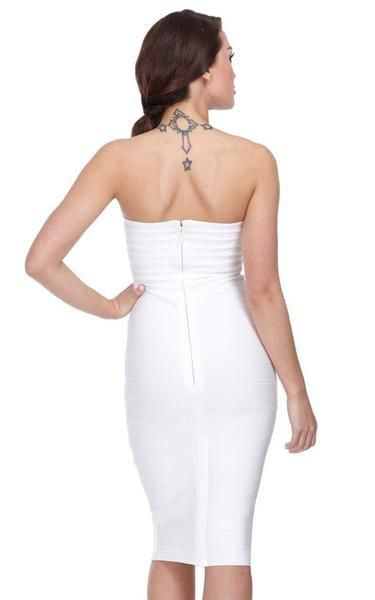 1b79ba9c425e A sexy white strapless midi dress for white parties or whenever you need to  show off