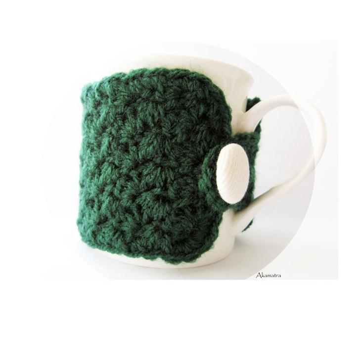 Crochet mug cozy, emerald green cup cozy, cute kitchen accessory, crochet mug cozy, cup cozy, gift under 10, pick your color. $9.50, via Etsy.