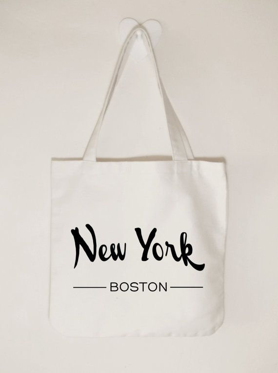 New York Boston Canvas tote bag Unisex tote bag by ToastStationery