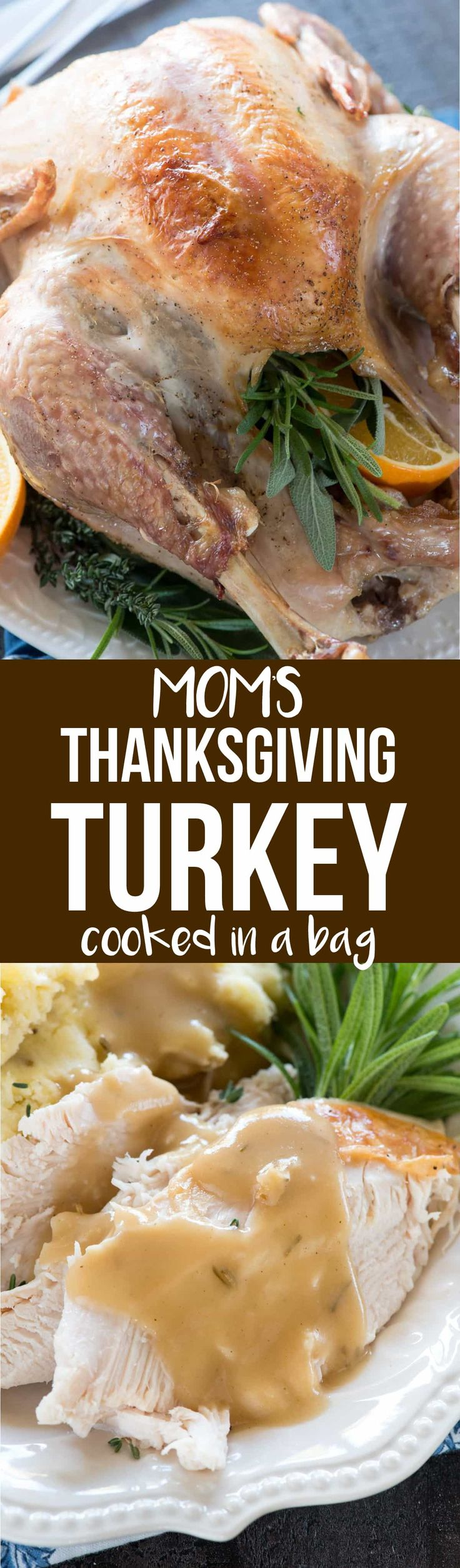 This is my Mom's Thanksgiving Turkey Recipe and it's cooked in an oven bag! It's moist every time with delicious flavor thanks to her secret baste recipe. via @crazyforcrust