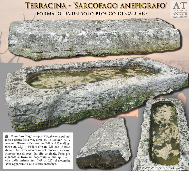 Sarcophagus without inscription located in the valley of Terracina. Rif. bibl. : G. Lugli - 'Forma Italiae . Regio I - Ager Pomptinus - pars prima - Anxur-Tarracina', Roma, 1926, c. 42 --- Sarcofago anepigrafo situato nella valle di Terracina.