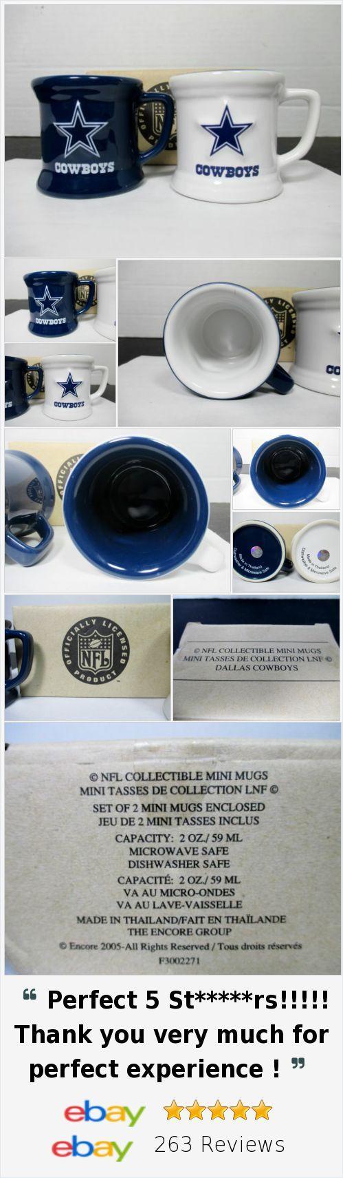 Dallas Cowboys Set Of 2 Collectible Mini Mugs 2 ounce Authentic NFL Merchandise