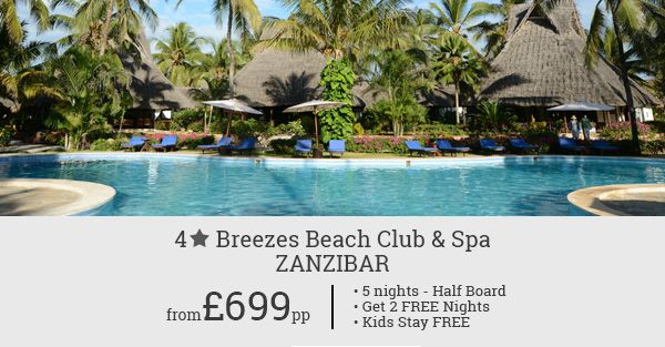 Grab our 5 night budgeted package deal to Zanzibar. Get 2 nights free on your reservation. Free stay for kids.