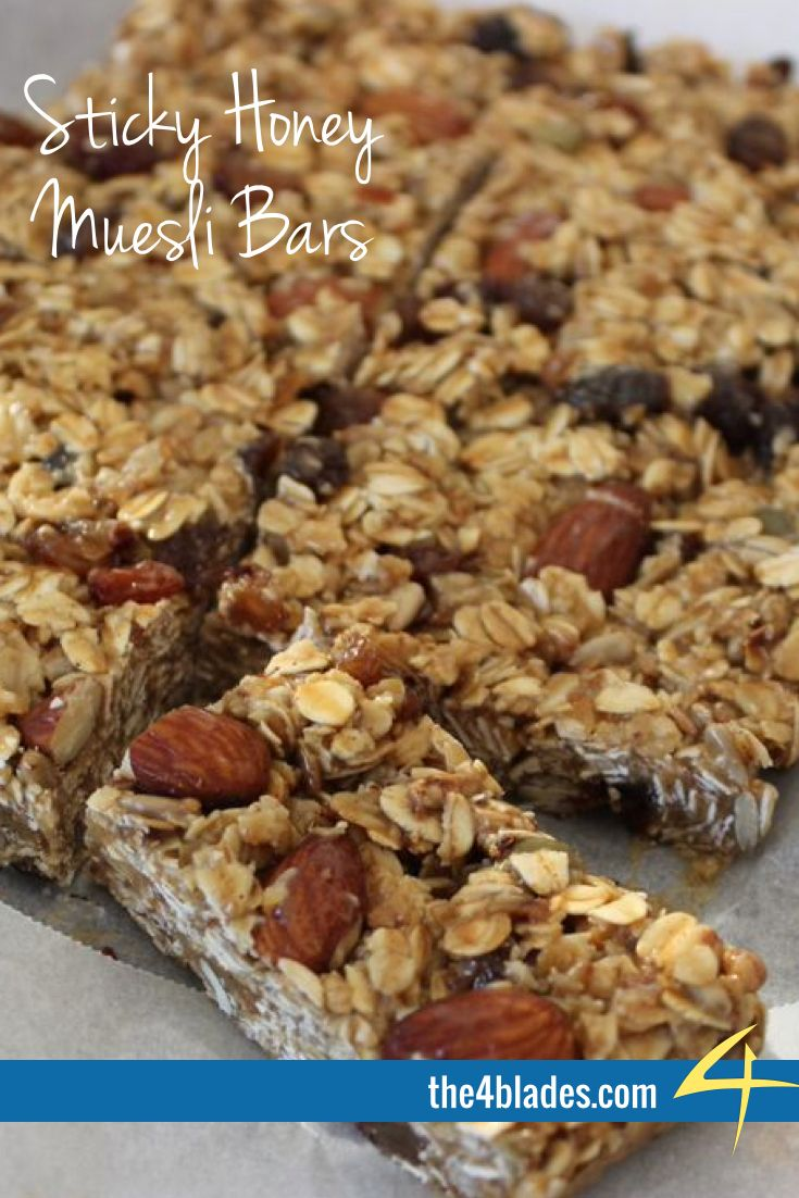 Sticky Honey Muesli Bars made with the Thermomix. Ingredients: Butter, honey, peanut butter, toasted muesli, nuts, dried fruit, chia seeds.