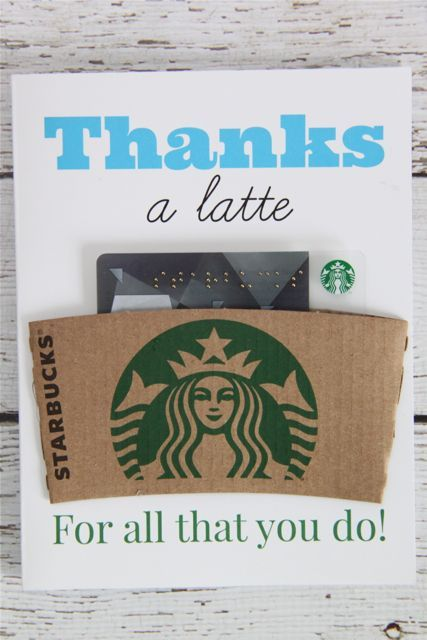Free Printable: Thanks A Latte Coffee Gift Card  // Smashed Peas and Carrots