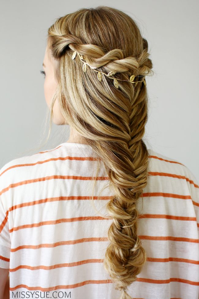 Chic Fishtail Braid with a twist by @missysueblog with her Bleach Blonde Luxy Hair Extensions!   Photo By: http://missysue.com/2015/08/3-back-to-school-hairstyles/  #LuxyHairExtensions