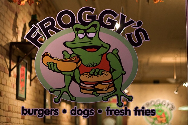 Froggy's serves burgers, hot dogs, and fries.  All of their burgers are cooked to order.  Froggy's also has a large ice cream bar.: Ice Cream Bar