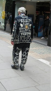 Casual pearly king on Oxford street on jubilee day!