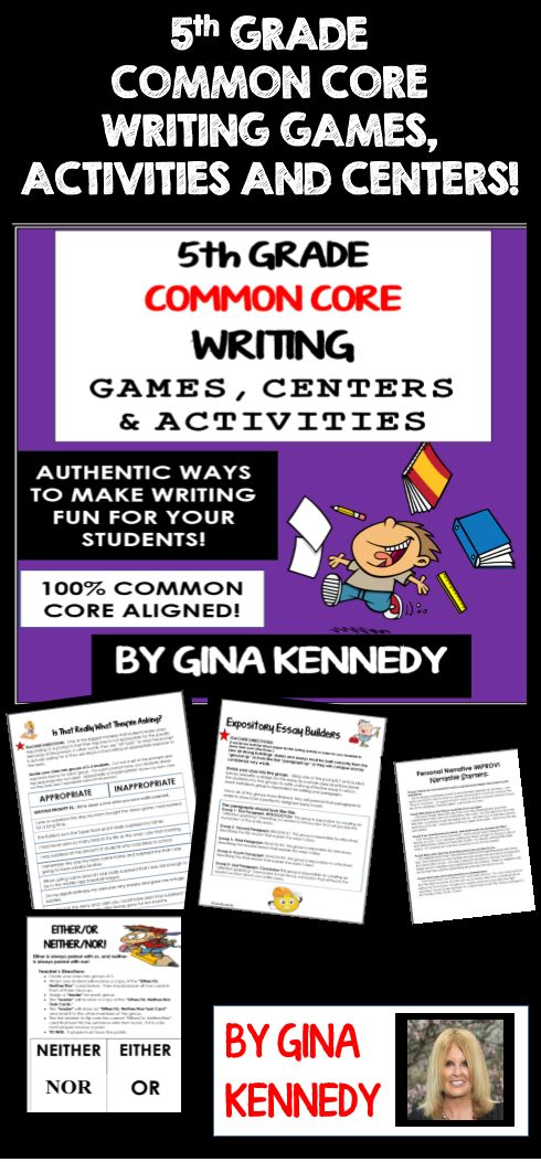 Fun, Challenging 5th Grade Writing Games, Activities and Lessons! Finally, a fun way to prepare your students for the 5th grade writing standardized tests without endless practice prompts. From developing a closing argument to writing the perfect introductory paragraph, the activities and games included in this resource will bring new life to your writing instruction! Also excellent for writing camps!