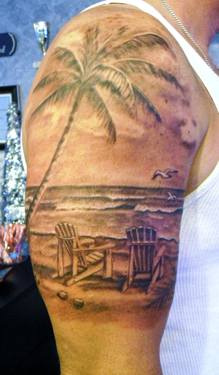 Beach scene tattoo by stevie lange moonlight tattoos for 2 chairs tattoo