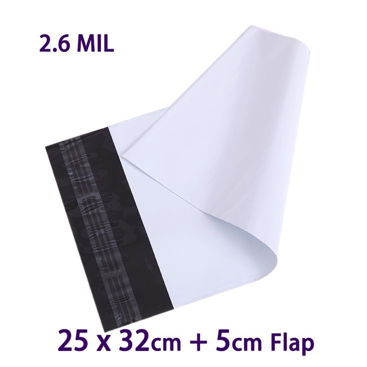500 Pcs 25x32cm White Plastic Envelopes Polybag Poly Mailer Postal Shipping Envelope Mailing Bags Courier Mailbag #Affiliate