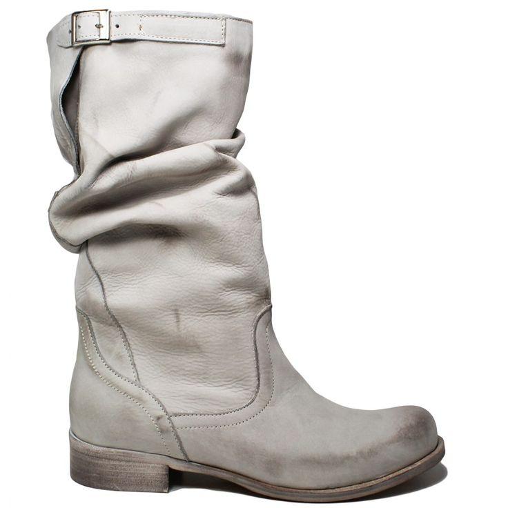 Stivali Biker Boots in Vera Pelle Nabuk spazzolata Vintage, color Grigio.