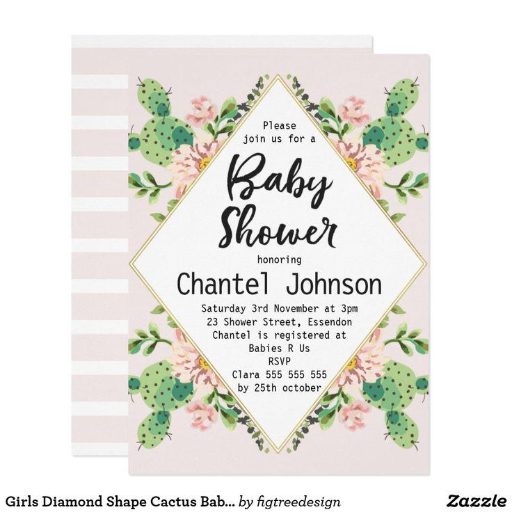 Girls Diamond Shape Cactus Baby Shower Invitation