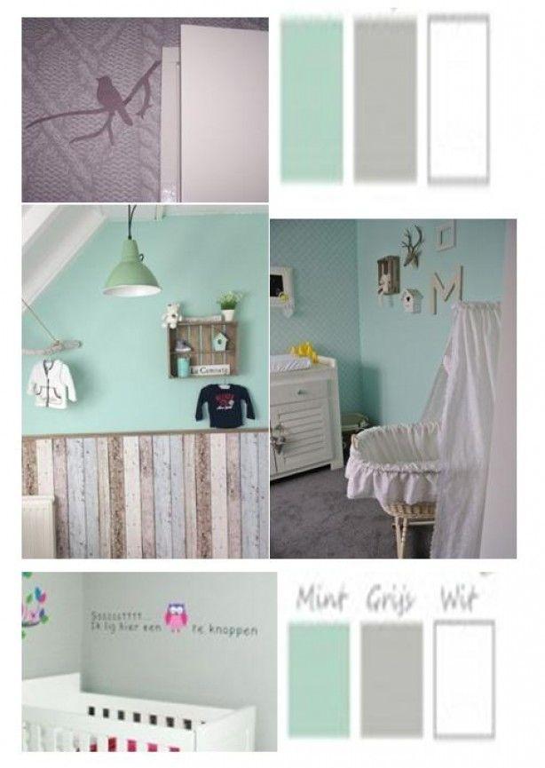 Deze kleuren zou ik wel graag in de logeerkamer willen hebben. Grijs, mint met wit