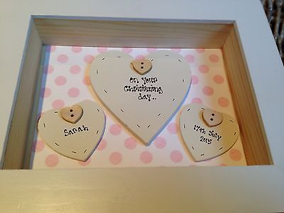Shabby Personalised Chic Box Frame Gift Girl Christening Present God Daughter