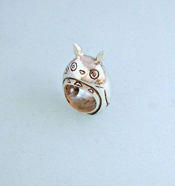 """925 silver ring inspired by the character Totoro animated film """"My Neighbor Totoro"""" (Tonari no Totoro) by Hayao Miyazaki"""