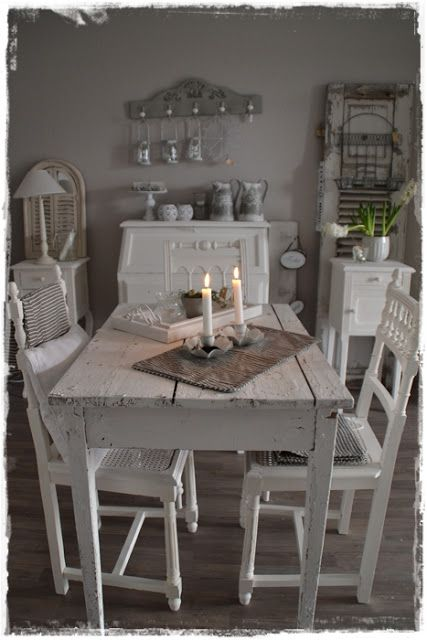 Shabby Chic- So pretty!! Humm maybe I will go all white in the kitchen?