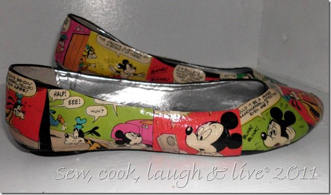 Love these mod podge comic book shoes linked up last week at Bacon Time.