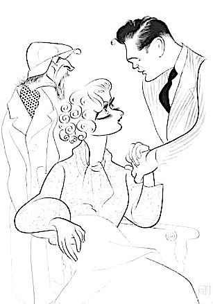 'morris carnovsky, stella adler and john garfield in awake and sing' by al hirschfeld