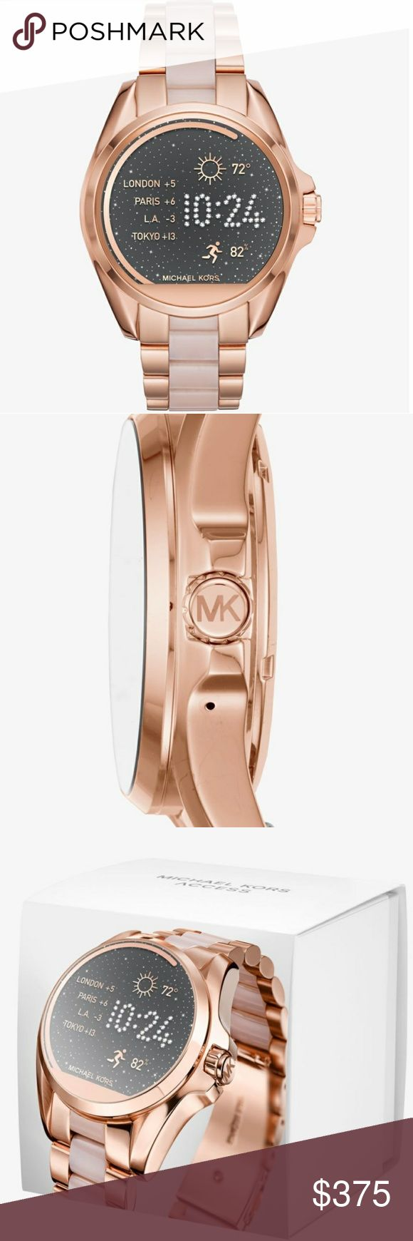 Michael Kors Bradshaw Smartwatch -Authentic.  -NWT.  -NO TRADES.  -Powered by Android Wear.  -Compatible with iPhone® and Android™ phones.  -Oversized.  -Rose Gold-Tone Stainless Steel/Acetate.  -44.5mm Case.  -Digital Movement.  -Social media updates.  -Text/email alerts.  -App notifications.  -Smart help from Google.  -Built-in fitness tracking.  -Voice-activated Google.  -Clasp Fastening.  -Water Resistant Up to 1 ATM.  -2-Year Warranty.  -Imported. Michael Kors Accessories Watches