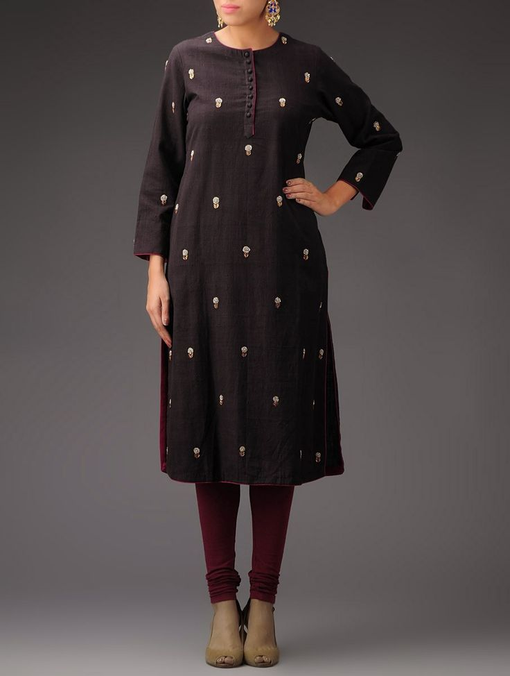Buy Charcoal Fuchsia Sequined Floral Embroidered Khadi Kurta Apparel Tunics & Kurtas Ethnic Fiesta Chanderi and Meenakari Silver Jhumkis Online at Jaypore.com