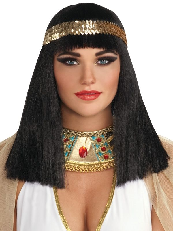 CLEOPATRA BLACK WIG WITH GOLD HEADBAND