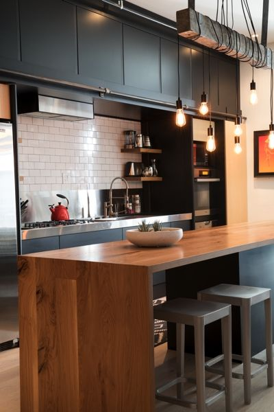 Wood Kitchen Island with Waterfall Edge | Modern Furniture - Union Wood Co. in Vancouver, BC