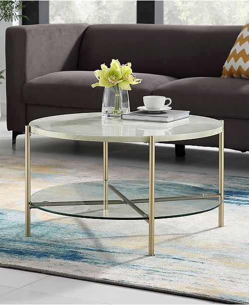 32 Inch Round Coffee Table In White Faux Marble With Gl Shelf And Gold Legs Black 2019 Home Decor Modern